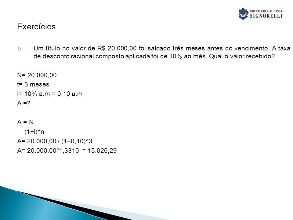 Exercícios 1) Determine o valor atual de um título de R$ 80.000,00, saldado 4 meses antes do vencimento, a taxa de desconto racional composto de 2% ao mês.