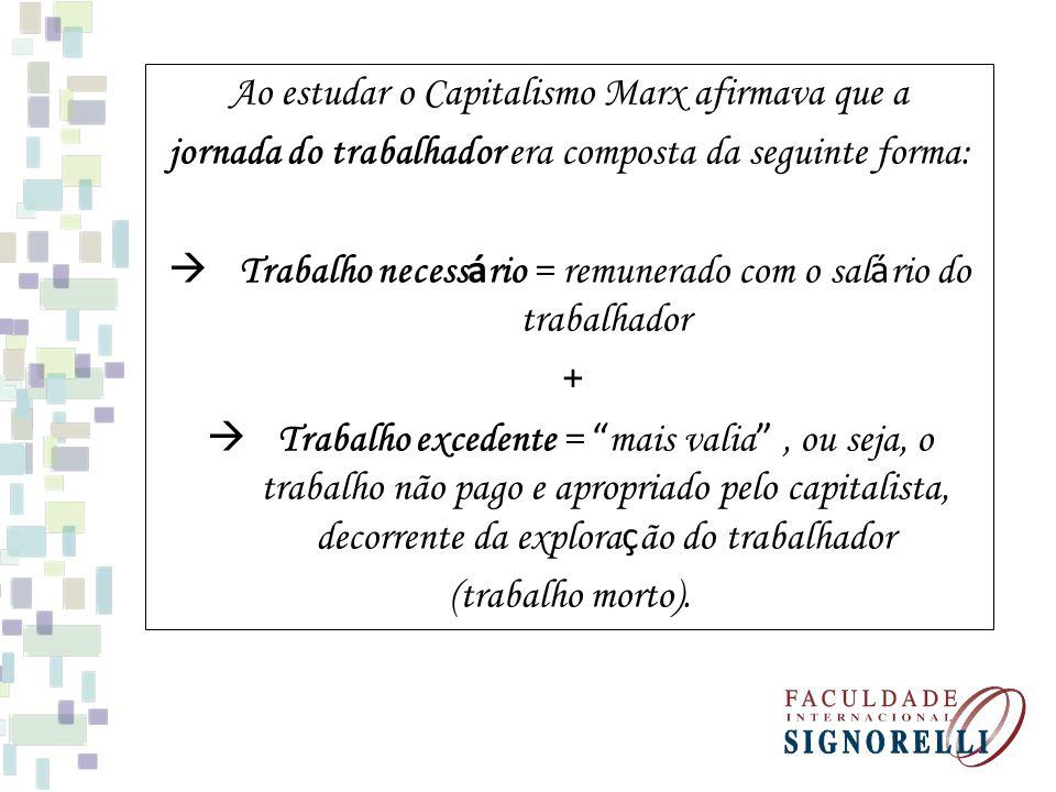 Ao estudar o Capitalismo Marx afirmava que a jornada do trabalhador era composta da seguinte forma: Trabalho necess á rio = remunerado com o sal á rio