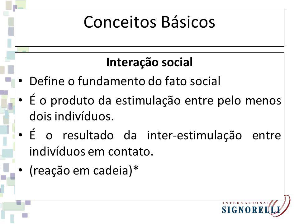 Conceitos Básicos Interação social Define o fundamento do fato social É o produto da estimulação entre pelo menos dois indivíduos. É o resultado da in