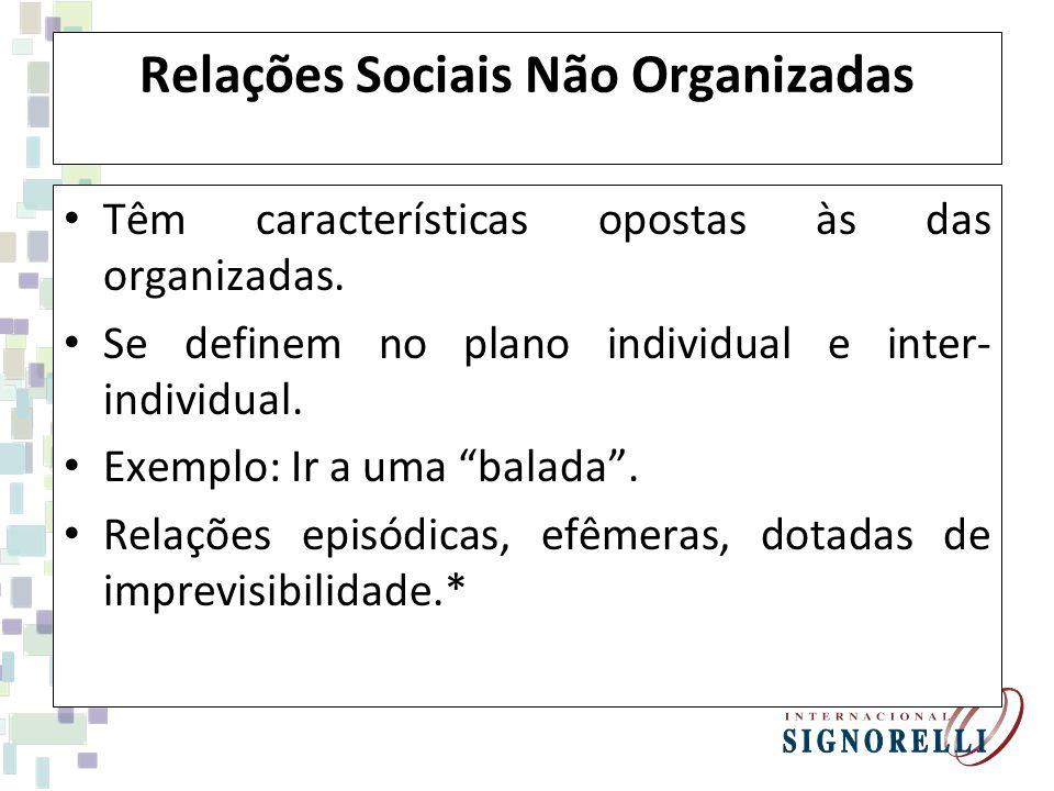 Relações Sociais Não Organizadas Têm características opostas às das organizadas. Se definem no plano individual e inter- individual. Exemplo: Ir a uma