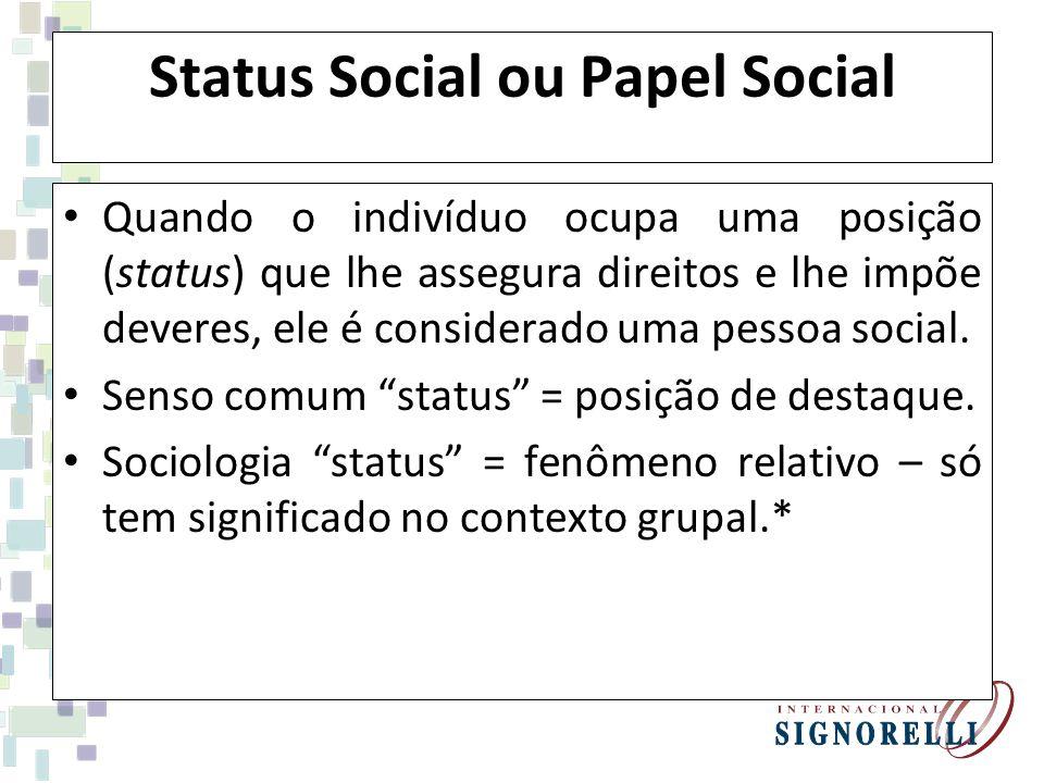 Status Social ou Papel Social Quando o indivíduo ocupa uma posição (status) que lhe assegura direitos e lhe impõe deveres, ele é considerado uma pesso