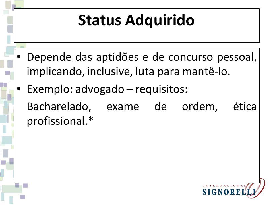 Status Adquirido Depende das aptidões e de concurso pessoal, implicando, inclusive, luta para mantê-lo. Exemplo: advogado – requisitos: Bacharelado, e
