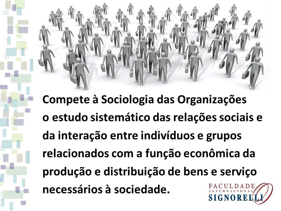 Compete à Sociologia das Organizações o estudo sistemático das relações sociais e da interação entre indivíduos e grupos relacionados com a função econômica da produção e distribuição de bens e serviço necessários à sociedade.