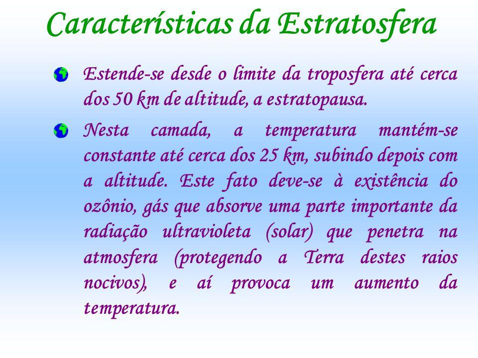 Características da Estratosfera Estende-se desde o limite da troposfera até cerca dos 50 km de altitude, a estratopausa. Nesta camada, a temperatura m