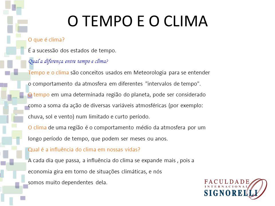 O TEMPO E O CLIMA O que é clima? É a sucessão dos estados de tempo. Qual a diferença entre tempo e clima? Tempo e o clima são conceitos usados em Mete
