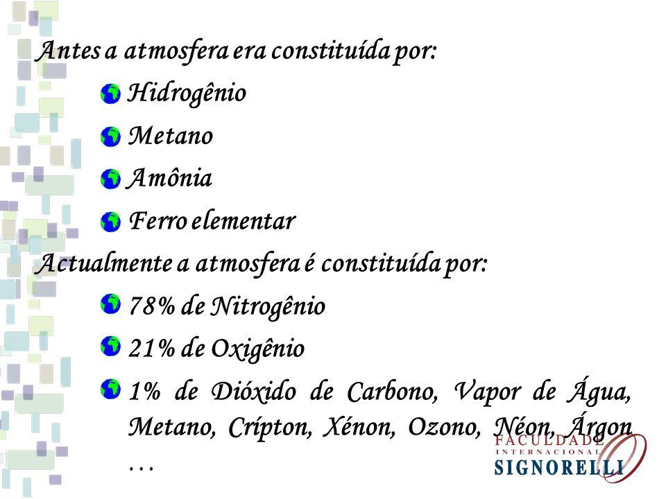 Antes a atmosfera era constituída por: Hidrogênio Metano Amônia Ferro elementar Actualmente a atmosfera é constituída por: 78% de Nitrogênio 21% de Ox