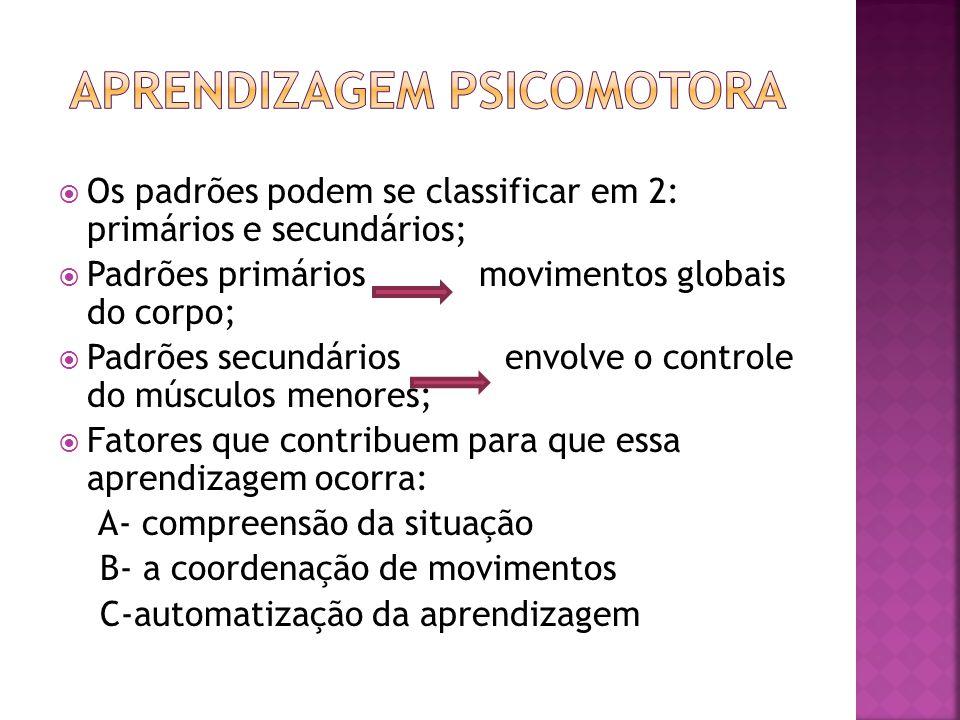 Os padrões podem se classificar em 2: primários e secundários; Padrões primários movimentos globais do corpo; Padrões secundários envolve o controle d