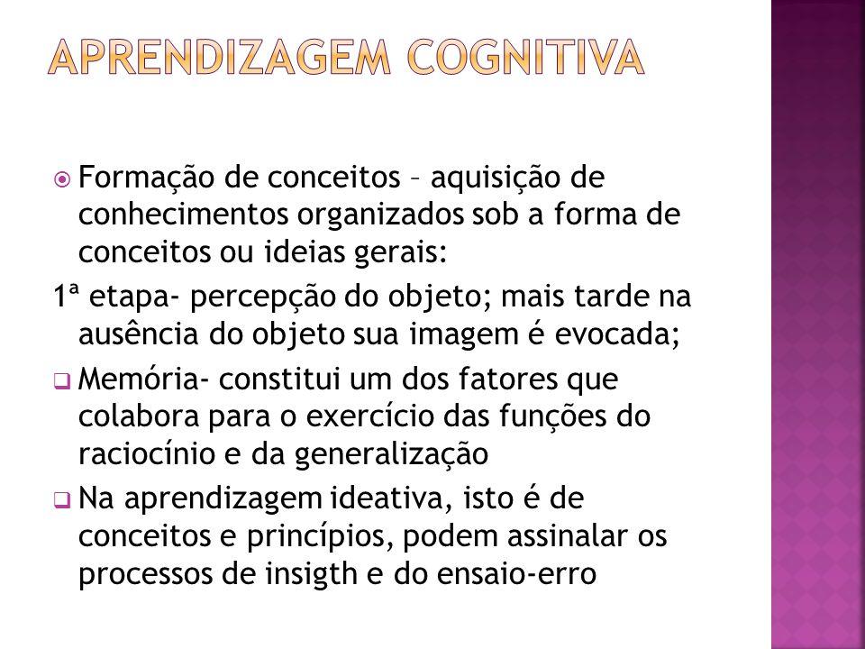 Formação de conceitos – aquisição de conhecimentos organizados sob a forma de conceitos ou ideias gerais: 1ª etapa- percepção do objeto; mais tarde na