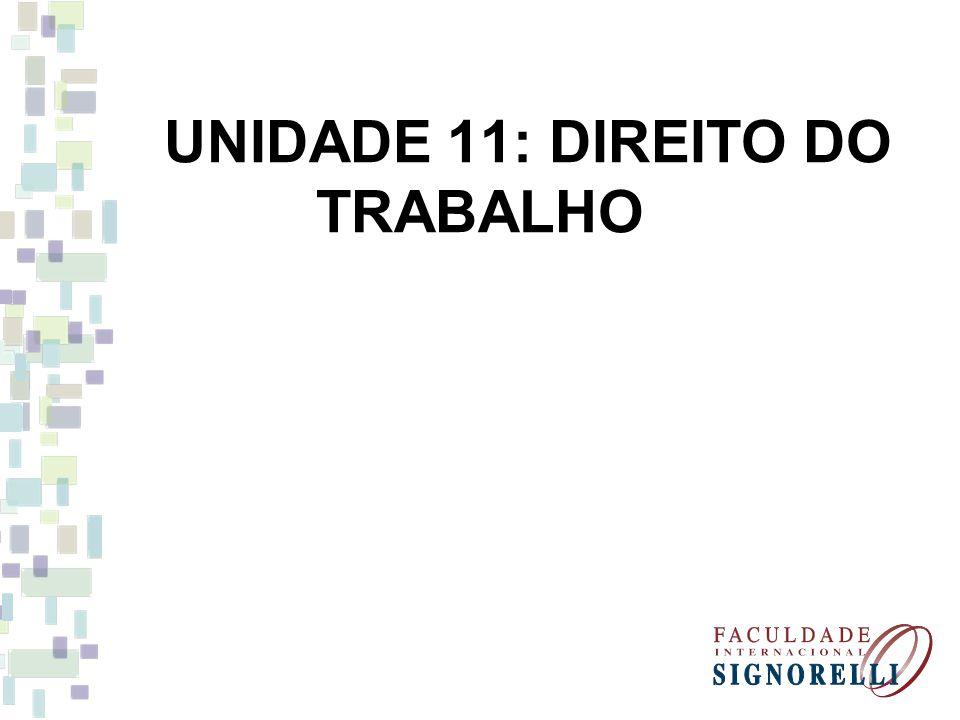 UNIDADE 11: DIREITO DO TRABALHO