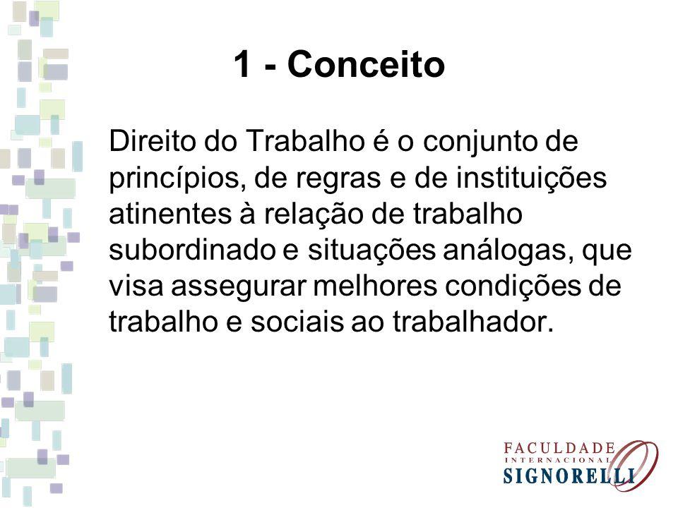 1 - Conceito Direito do Trabalho é o conjunto de princípios, de regras e de instituições atinentes à relação de trabalho subordinado e situações análo