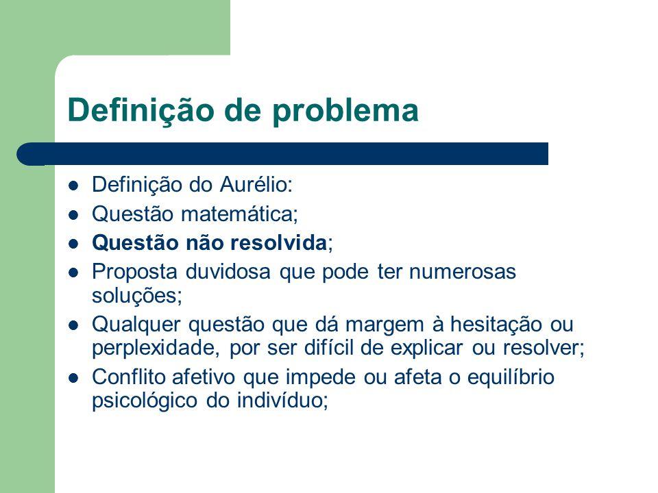 Definição de problema Definição do Aurélio: Questão matemática; Questão não resolvida; Proposta duvidosa que pode ter numerosas soluções; Qualquer que