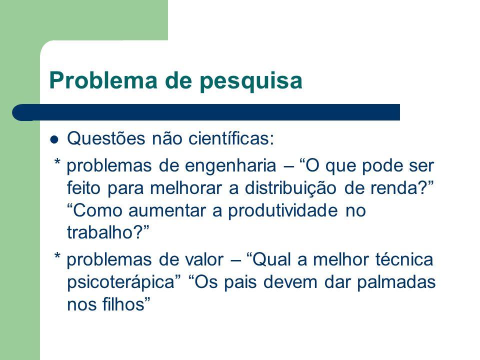 Problema de pesquisa Questões não científicas: * problemas de engenharia – O que pode ser feito para melhorar a distribuição de renda? Como aumentar a