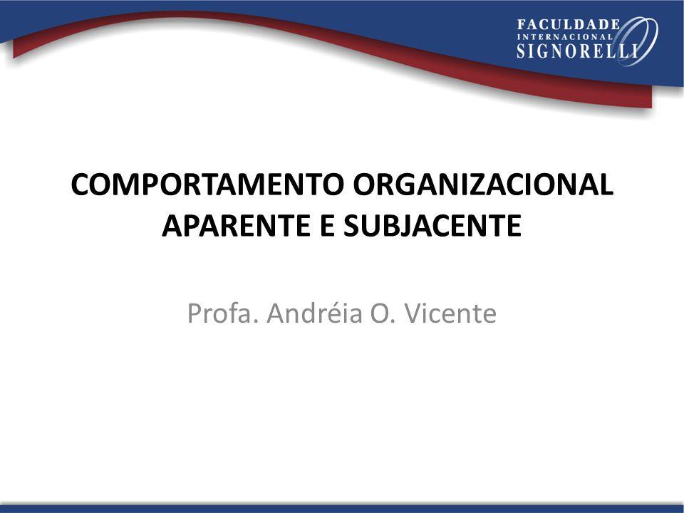 COMPORTAMENTO ORGANIZACIONAL APARENTE E SUBJACENTE Profa. Andréia O. Vicente