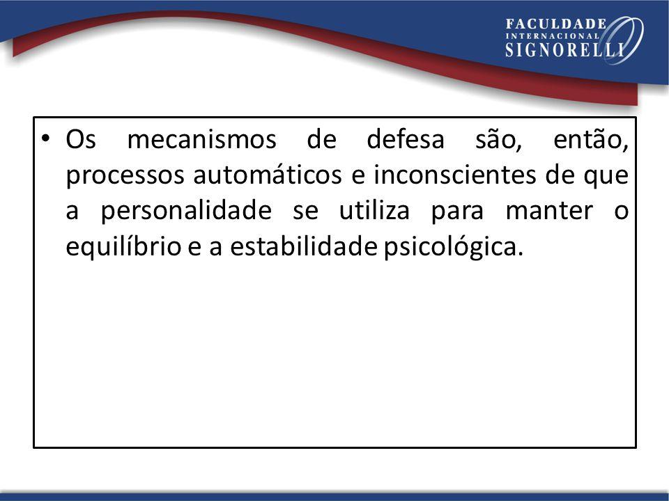 Os mecanismos de defesa são, então, processos automáticos e inconscientes de que a personalidade se utiliza para manter o equilíbrio e a estabilidade psicológica.