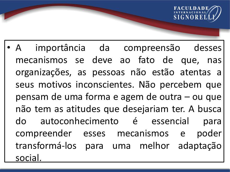 A importância da compreensão desses mecanismos se deve ao fato de que, nas organizações, as pessoas não estão atentas a seus motivos inconscientes.