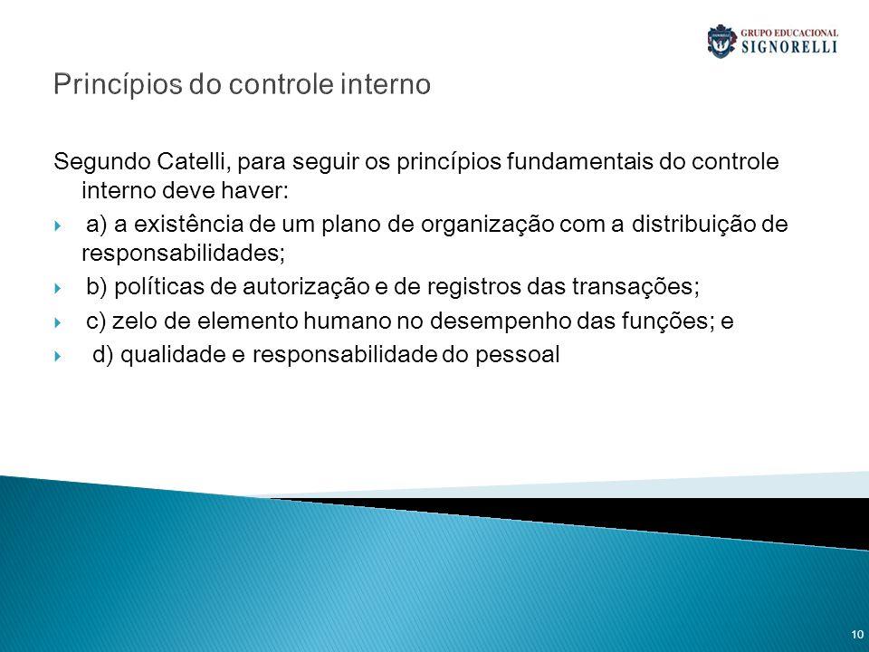 Princípios do controle interno Segundo Catelli, para seguir os princípios fundamentais do controle interno deve haver: a) a existência de um plano de