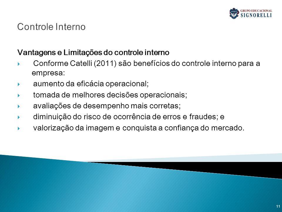 Controle Interno Vantagens e Limitações do controle interno Conforme Catelli (2011) são benefícios do controle interno para a empresa: aumento da efic