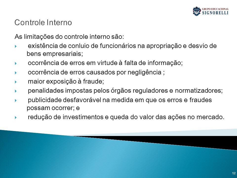 Controle Interno As limitações do controle interno são: existência de conluio de funcionários na apropriação e desvio de bens empresariais; ocorrência