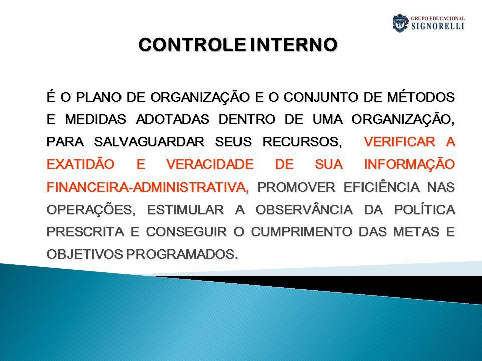 IMPORTÂNCIA DO CONTROLE INTERNO MAIS CONTROLE MENOS DESPERDÍCIOS MENOS CONTROLE MAIS DESPERDÍCIOS MAIS CONTROLE MAIS RESPONSABILIDADE MENOS CONTROLE MENOS RESPONSABILIDADE