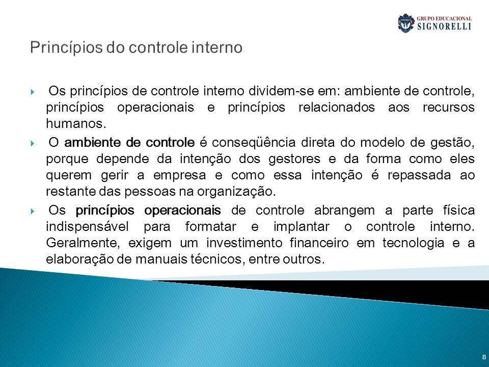 Princípios do controle interno Os princípios de controle interno dividem-se em: ambiente de controle, princípios operacionais e princípios relacionado