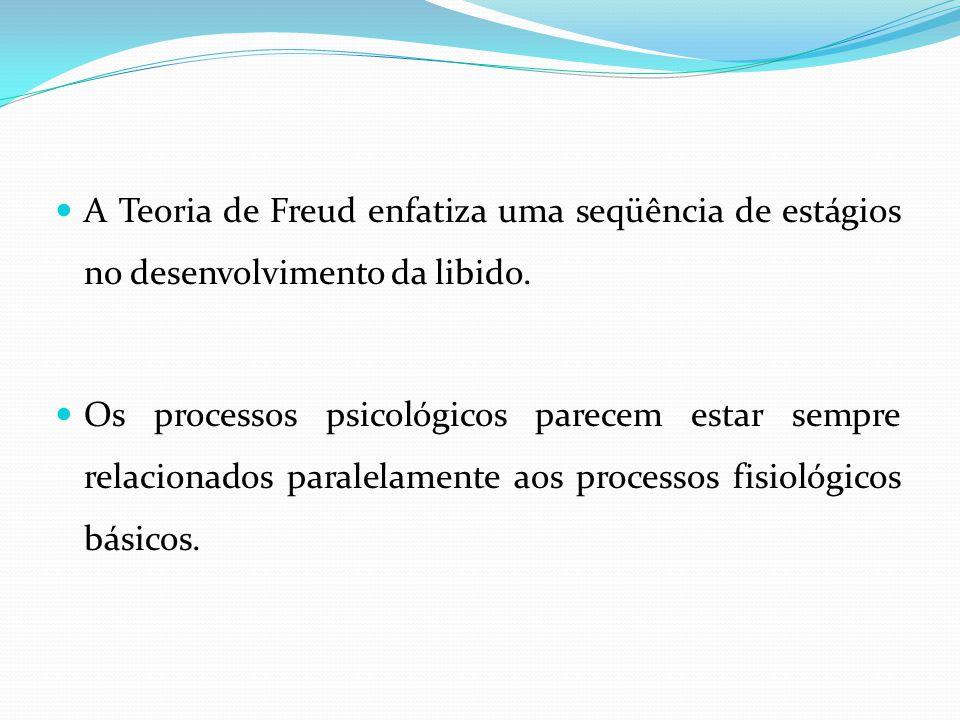 A Teoria de Freud enfatiza uma seqüência de estágios no desenvolvimento da libido. Os processos psicológicos parecem estar sempre relacionados paralel
