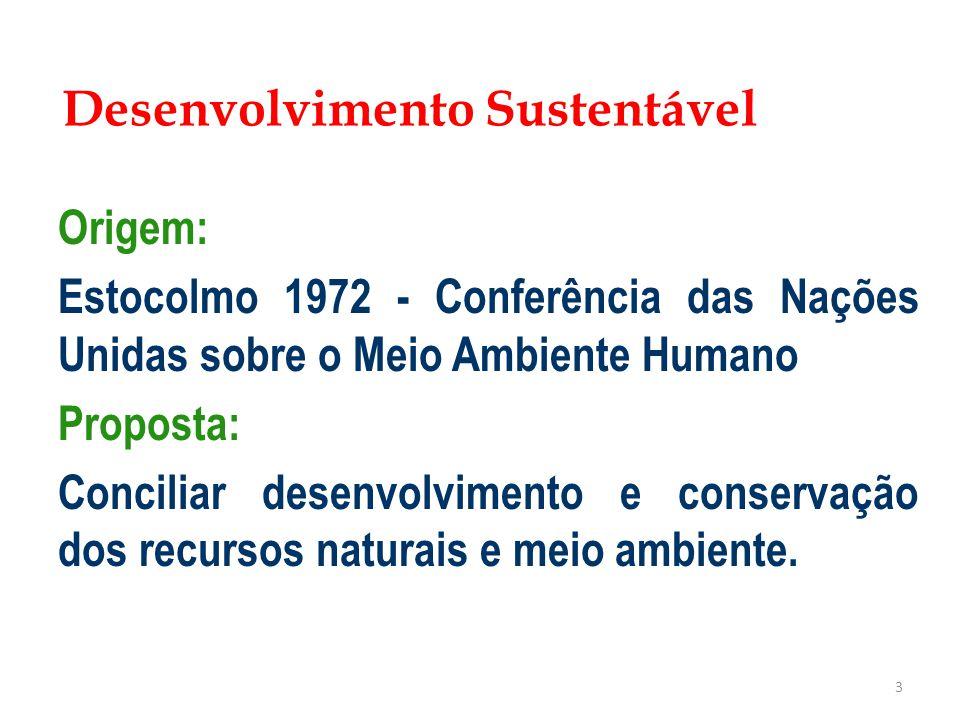 3 Origem: Estocolmo 1972 - Conferência das Nações Unidas sobre o Meio Ambiente Humano Proposta: Conciliar desenvolvimento e conservação dos recursos n