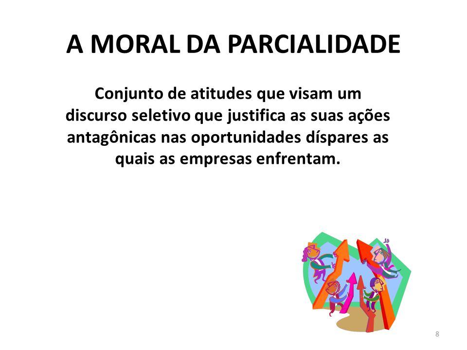 A MORAL DA PARCIALIDADE 8 Conjunto de atitudes que visam um discurso seletivo que justifica as suas ações antagônicas nas oportunidades díspares as qu