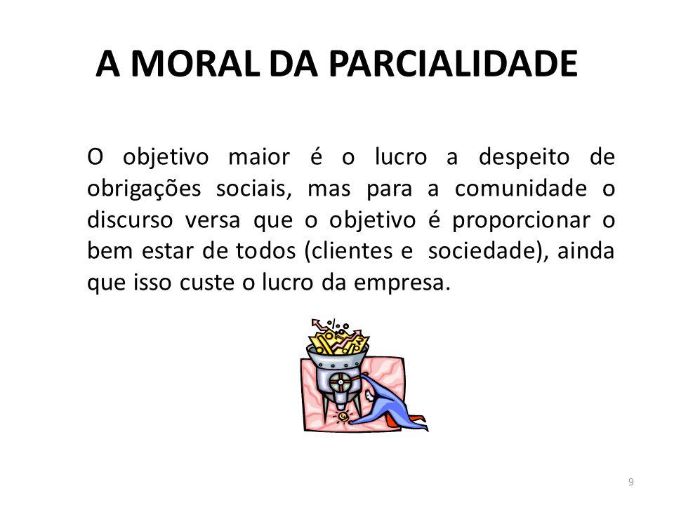 A MORAL DA PARCIALIDADE 9 O objetivo maior é o lucro a despeito de obrigações sociais, mas para a comunidade o discurso versa que o objetivo é proporc