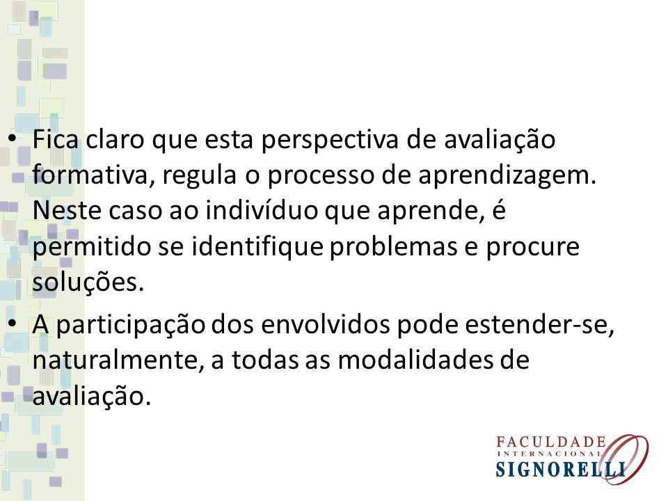 Fica claro que esta perspectiva de avaliação formativa, regula o processo de aprendizagem. Neste caso ao indivíduo que aprende, é permitido se identif