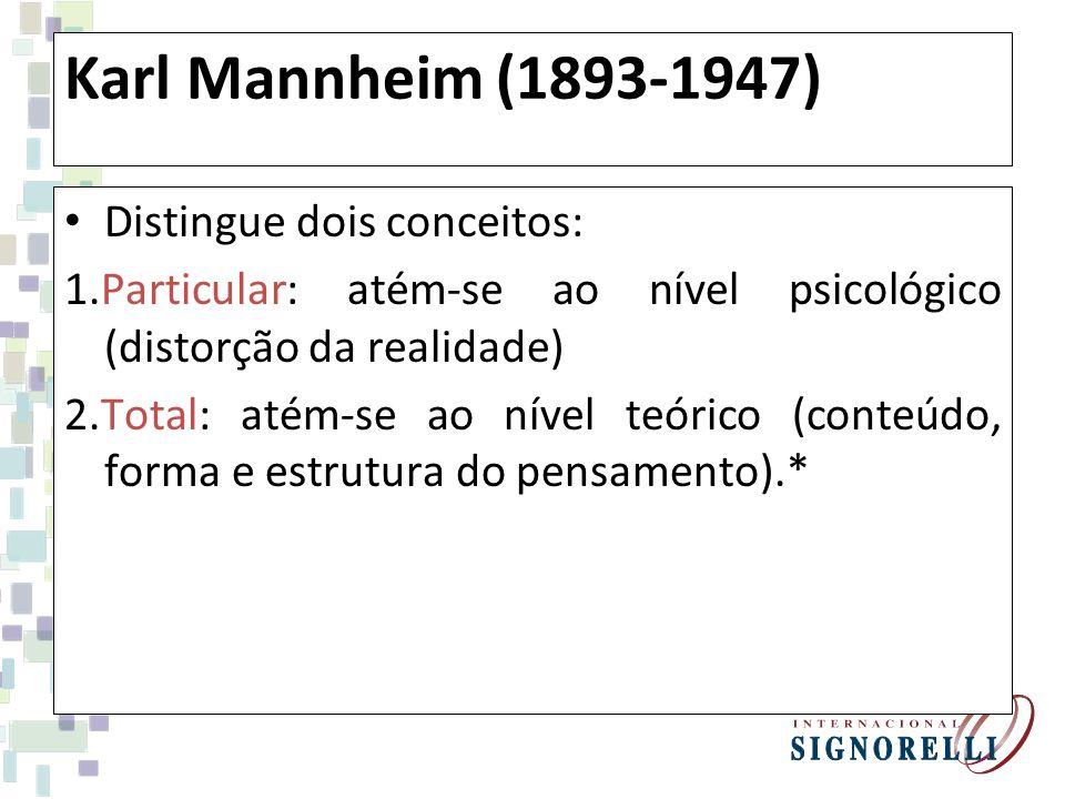 Karl Mannheim (1893-1947) Distingue dois conceitos: 1.Particular: atém-se ao nível psicológico (distorção da realidade) 2.Total: atém-se ao nível teórico (conteúdo, forma e estrutura do pensamento).*