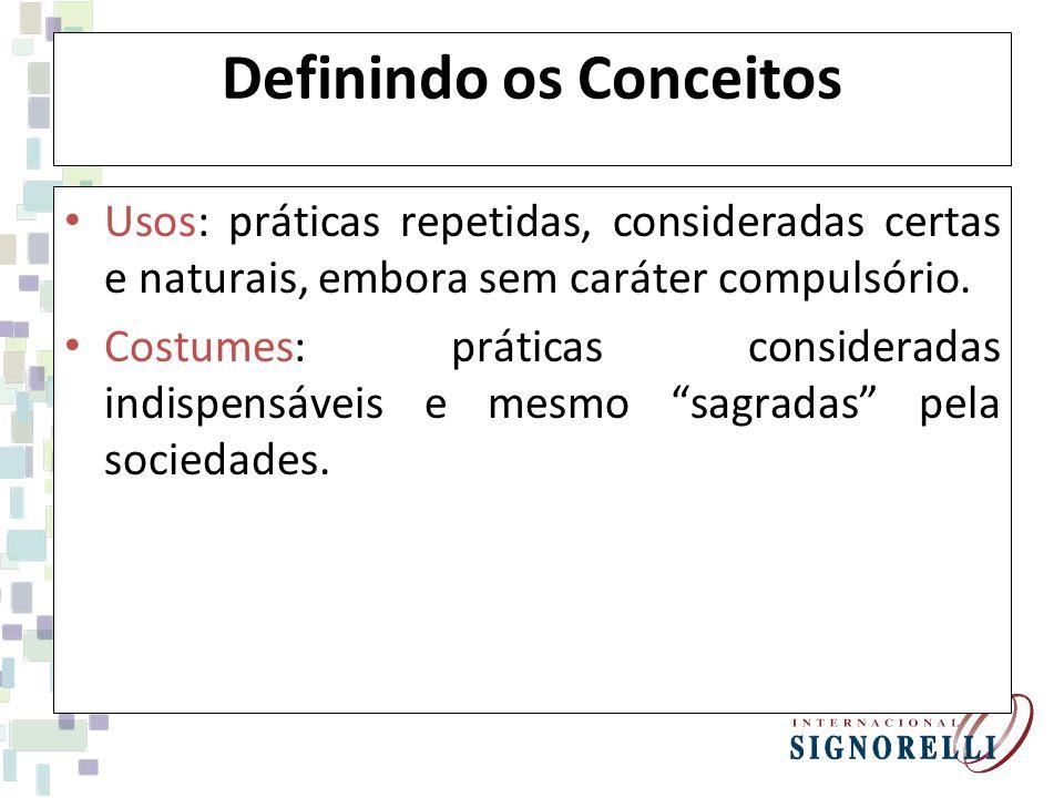 Definindo os Conceitos Usos: práticas repetidas, consideradas certas e naturais, embora sem caráter compulsório.