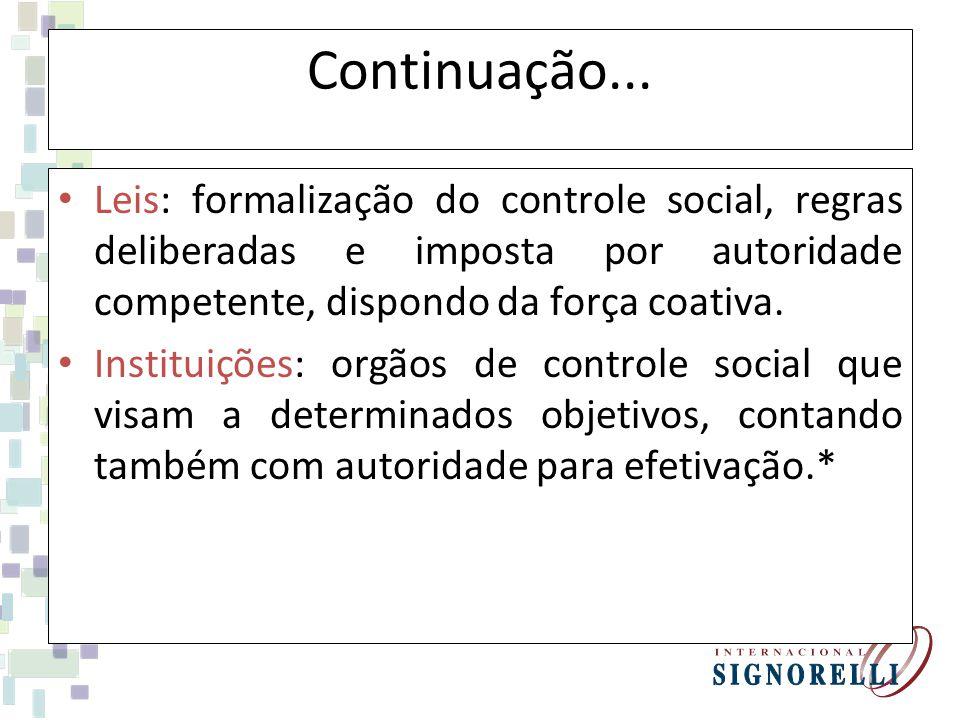 As Instituições contam com ObjetivosAutoridade Satisfação das necessidades sociais pela manutenção do equilíbrio social.