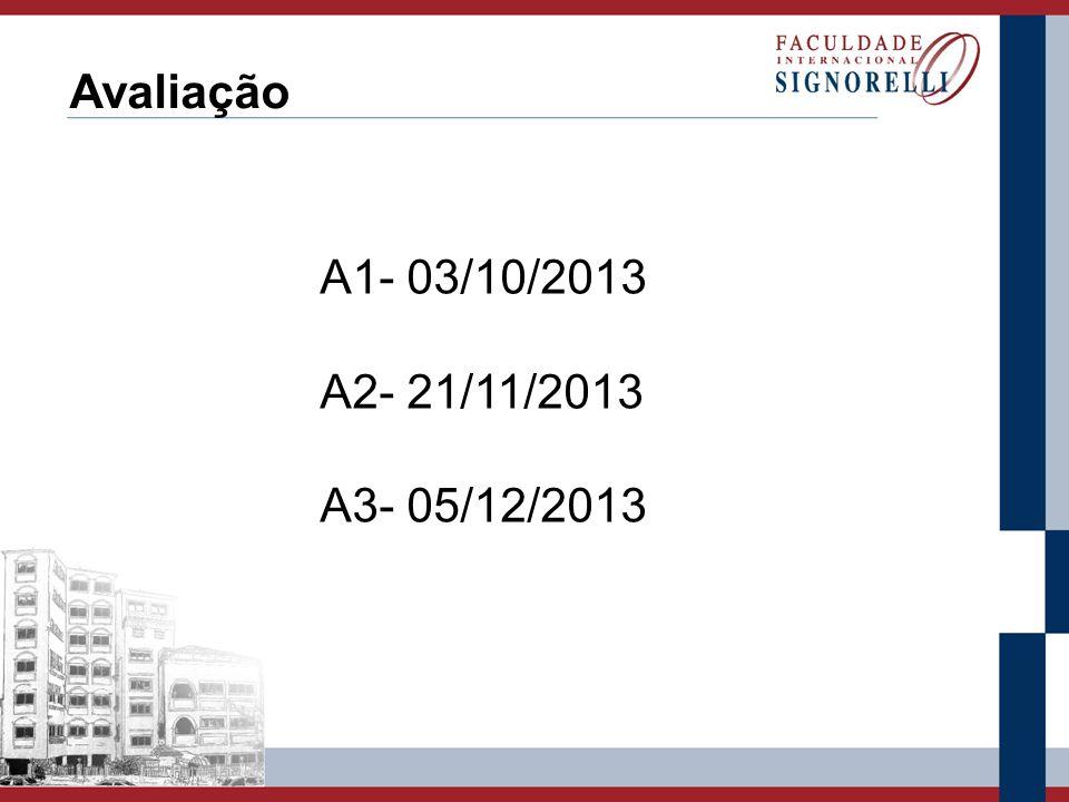 Avaliação A1- 03/10/2013 A2- 21/11/2013 A3- 05/12/2013