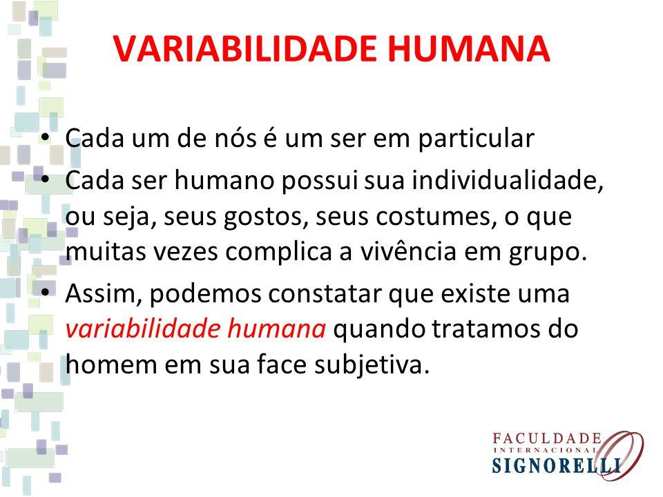 VARIABILIDADE HUMANA Cada um de nós é um ser em particular Cada ser humano possui sua individualidade, ou seja, seus gostos, seus costumes, o que muitas vezes complica a vivência em grupo.