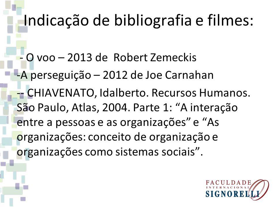 Indicação de bibliografia e filmes: - O voo – 2013 de Robert Zemeckis -A perseguição – 2012 de Joe Carnahan -- CHIAVENATO, Idalberto.