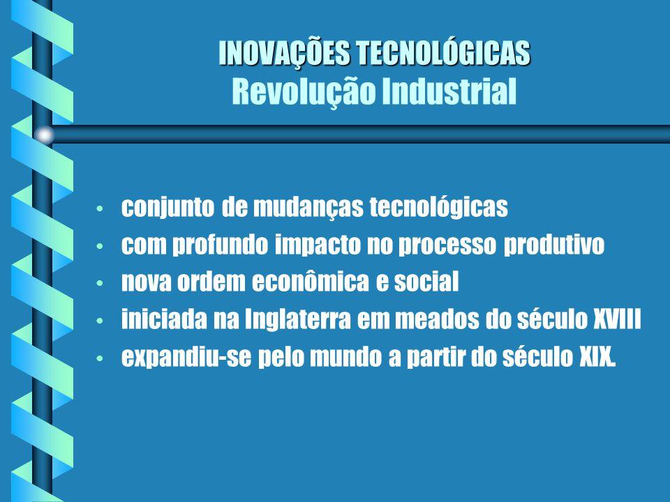 INOVAÇÕES TECNOLÓGICAS INOVAÇÕES TECNOLÓGICAS Revolução Industrial conjunto de mudanças tecnológicas com profundo impacto no processo produtivo nova o