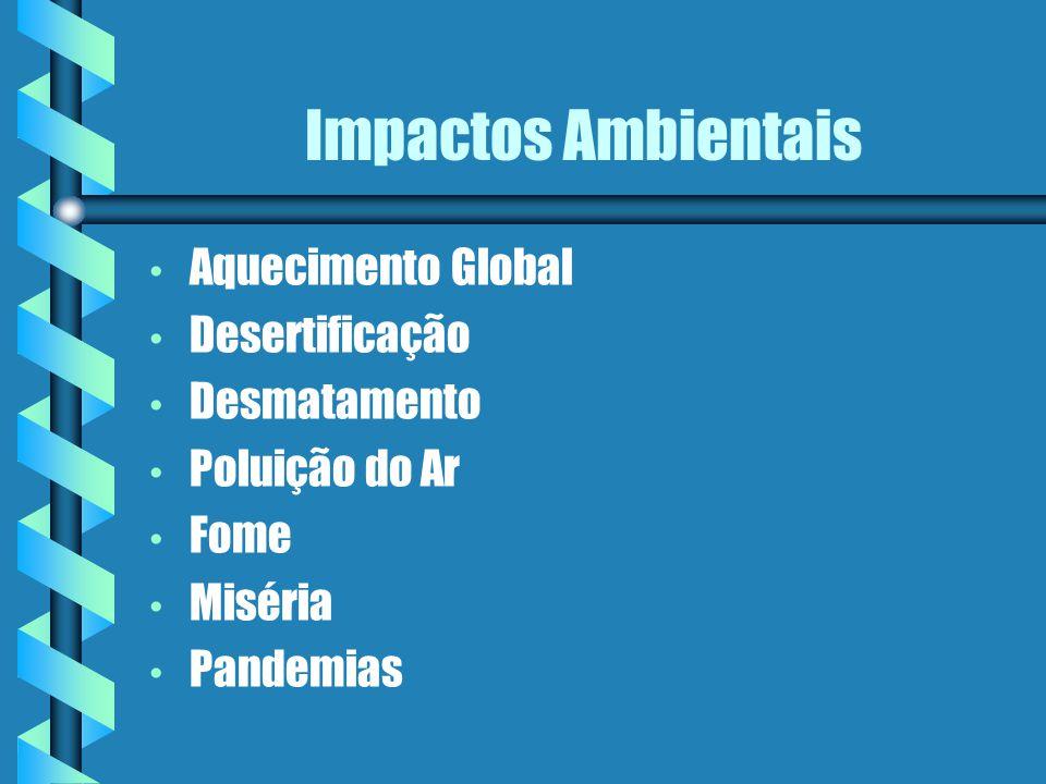 Impactos Ambientais Aquecimento Global Desertificação Desmatamento Poluição do Ar Fome Miséria Pandemias