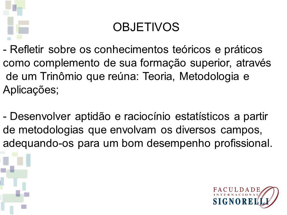 OBJETIVOS - Refletir sobre os conhecimentos teóricos e práticos como complemento de sua formação superior, através de um Trinômio que reúna: Teoria, M