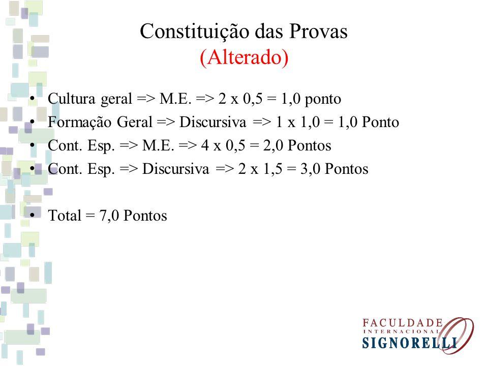 Constituição das Provas (Alterado) Cultura geral => M.E. => 2 x 0,5 = 1,0 ponto Formação Geral => Discursiva => 1 x 1,0 = 1,0 Ponto Cont. Esp. => M.E.
