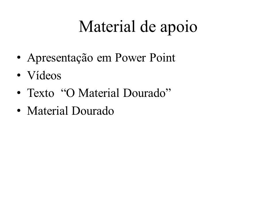 Material de apoio Apresentação em Power Point Vídeos Texto O Material Dourado Material Dourado