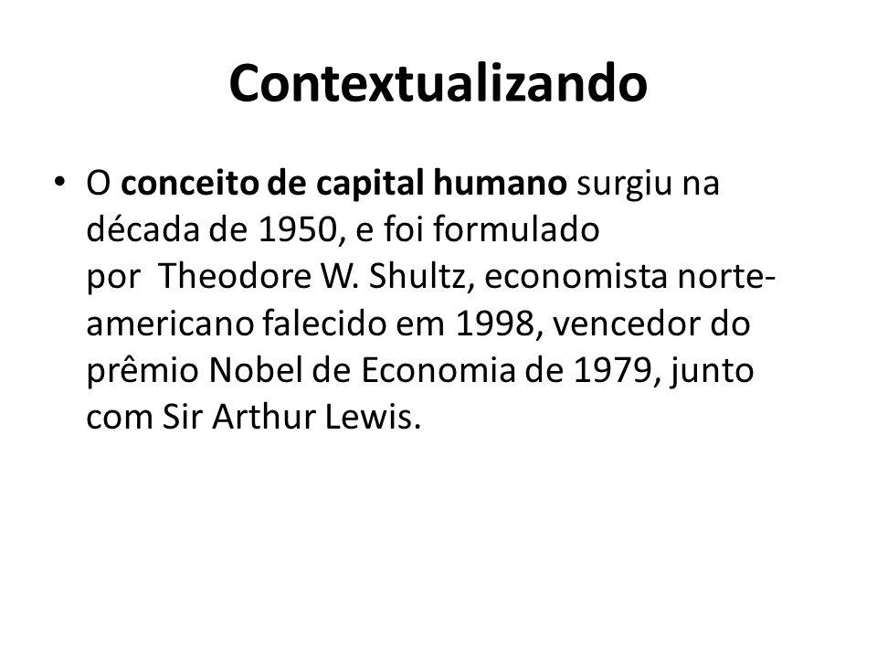 Contextualizando O conceito de capital humano surgiu na década de 1950, e foi formulado por Theodore W. Shultz, economista norte- americano falecido e