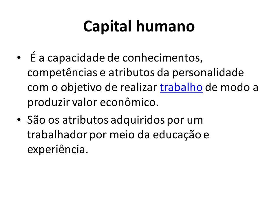 Capital humano É a capacidade de conhecimentos, competências e atributos da personalidade com o objetivo de realizar trabalho de modo a produzir valor