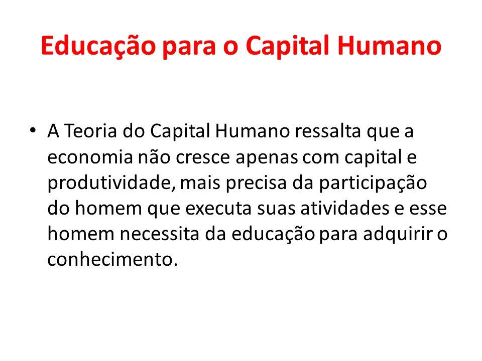 Educação para o Capital Humano A Teoria do Capital Humano ressalta que a economia não cresce apenas com capital e produtividade, mais precisa da parti
