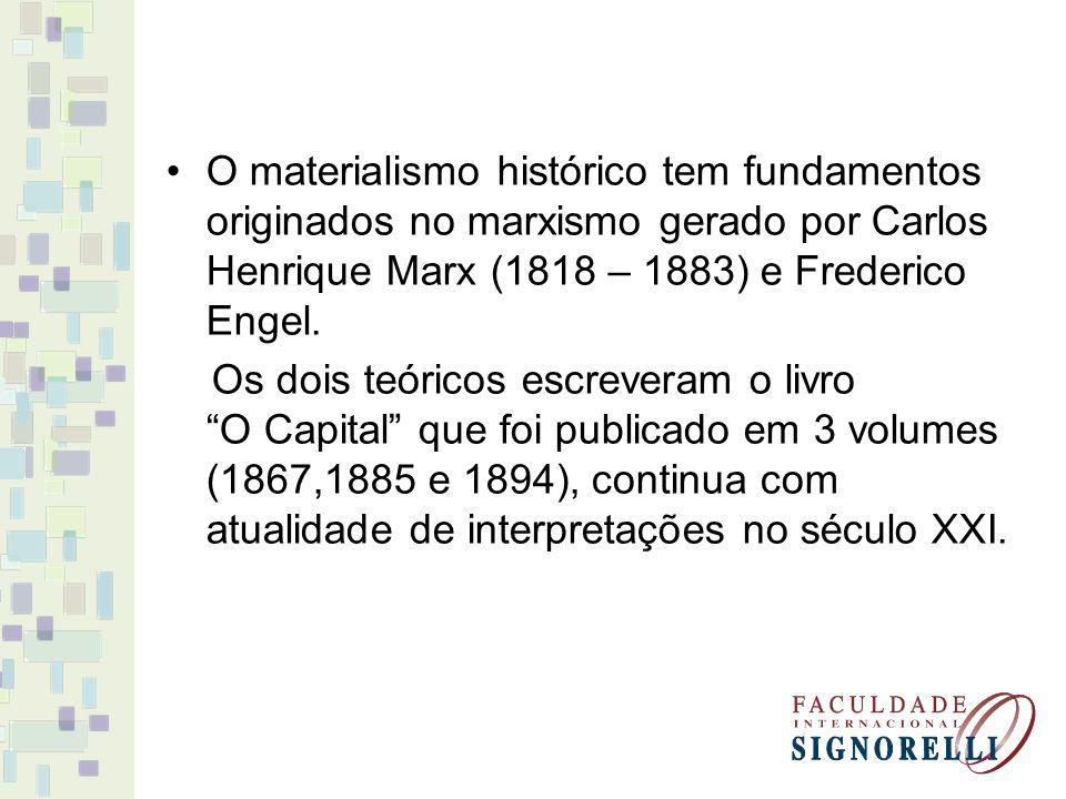 O materialismo histórico tem fundamentos originados no marxismo gerado por Carlos Henrique Marx (1818 – 1883) e Frederico Engel. Os dois teóricos escr