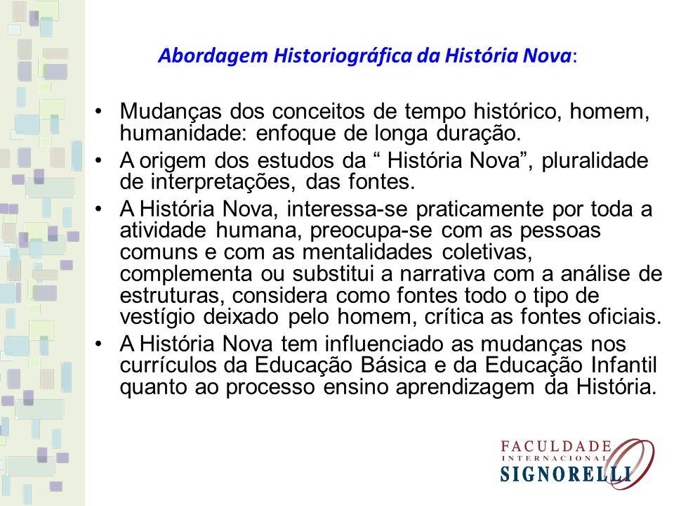 Abordagem Historiográfica da História Nova: Mudanças dos conceitos de tempo histórico, homem, humanidade: enfoque de longa duração. A origem dos estud