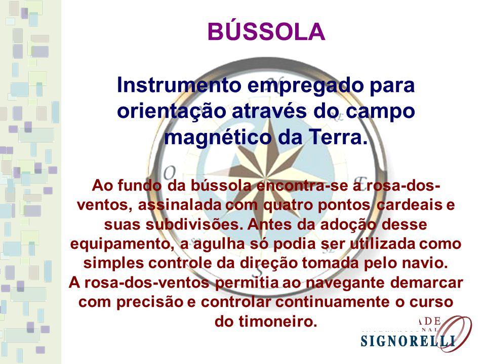 BÚSSOLA Instrumento empregado para orientação através do campo magnético da Terra.