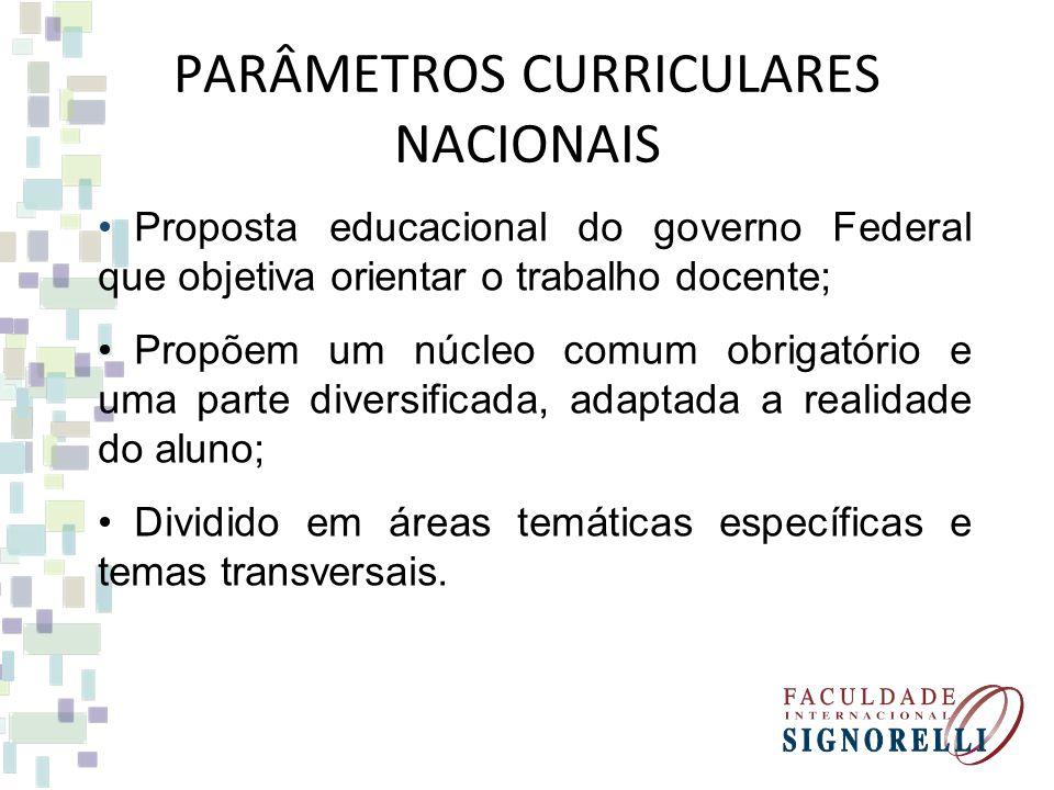 Proposta educacional do governo Federal que objetiva orientar o trabalho docente; Propõem um núcleo comum obrigatório e uma parte diversificada, adapt