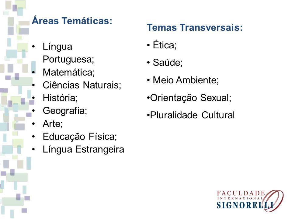 Áreas Temáticas: Língua Portuguesa; Matemática; Ciências Naturais; História; Geografia; Arte; Educação Física; Língua Estrangeira Temas Transversais: