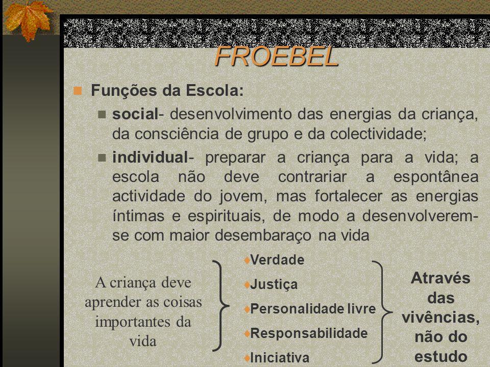 FROEBEL Funções da Escola: social- desenvolvimento das energias da criança, da consciência de grupo e da colectividade; individual- preparar a criança