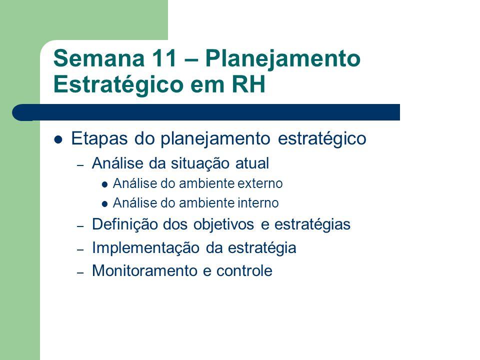 Semana 11 – Planejamento Estratégico em RH Questões a respeito da estratégia – estratégia diz respeito à organização e ao ambiente; – essência da estratégia é complexa; – estratégia afeta o funcionamento da organização; – estratégia envolve questões relativas ao caminho determinado, assim como o processo de se determinar este caminho; – estratégia realizada quase nunca é a mesma que foi planejada; – estratégias existem em níveis diferentes da organização, e estratégia envolve um exercício de definição de conceitos e análise da realidade.